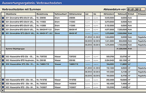 """Screenshot """"CAFM-Software"""" (Verbrauchsdaten)"""