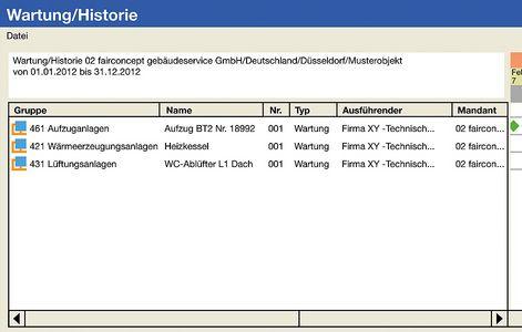 """Screenshot """"CAFM-Software"""" (Wartung/Historie)"""